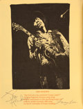 Music Memorabilia:Autographs and Signed Items, Jimi Hendrix and Others Signed Program from Woodstock, 1969....