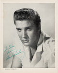 Music Memorabilia:Autographs and Signed Items, Elvis Presley Signed Black and White Image, Circa 1956....