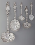 Silver Flatware, American:Whiting, Five Whiting Mfg. Co. Lily Pattern Silver Serving Pieces,New York, New York, designed 1902. Marks: (W-griffin),... (Total: 5)
