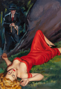 American Artist (20th Century) The Damsel in Red, probable paperback cover Oil on canvasboard 16