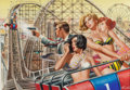 Pulp, Pulp-like, Digests, and Paperback Art, Mort Künstler (American, b. 1931). The Night the Mob Took OverThrill Park, For Men Only magazine cover, November 1967. ...