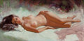 Pin-up and Glamour Art, Earl Moran (American, 1893-1984). The Gaze of a RecliningBeauty. Oil on canvas. 24 x 48 in.. Signed lower right. ...
