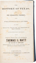 Books:Americana & American History, David B[arnett]. Edward. The History of Texas; or, TheEmigrant's, Farmer's, and Politician's Guide to the Chara...