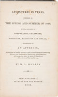 Books:Americana & American History, William L. McCalla: Adventures in Texas, Chiefly in the Springand Summer of 1840;. with a Discussion of Compara...