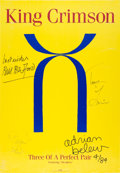 Music Memorabilia:Autographs and Signed Items, King Crimson Signed Three of a Perfect Pair Poster(1984)....
