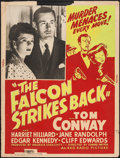 "Movie Posters:Crime, The Falcon Strikes Back (RKO, 1943). Silk Screen Poster (30"" X40""). Crime.. ..."