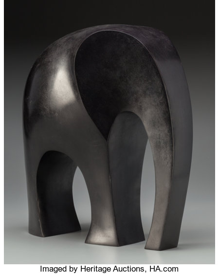 Ferdinand Parpan (French, 1902-2004) Eléphant, executed 2000 Bronze with dark brown patina 13-1/2 inches high (34.3 c...