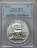 Modern Issues, 1998-S $1 Black Patriots Silver Dollar MS70 PCGS. PCGS Population (253). NGC Census: (301). Numismedia Wsl. Price for prob...