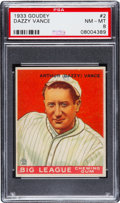 Baseball Cards:Singles (1930-1939), 1933 Goudey Dazzy Vance #2 PSA NM-MT 8 - None Higher....