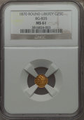 California Fractional Gold : , 1870 25C Liberty Round 25 Cents, BG-835, R.3, MS61 NGC. NGC Census:(15/19). PCGS Population (31/95). ...