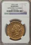 Liberty Double Eagles, 1870-S $20 -- Improperly Cleaned -- NGC Details. AU. Mintage 982,000....
