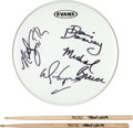 Music Memorabilia:Autographs and Signed Items, Alice Cooper - Neal Smith Signed and Stage-Played Dallas ReunionDrumsticks With Drumhead Signed by the Original Alice Cooper ...