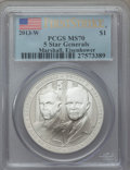 Modern Issues, 2013-W $1 Five-Star Generals Silver Dollar, Marshall and Eisenhower, First Strike MS70 PCGS. PCGS Population (709). NGC Cen...