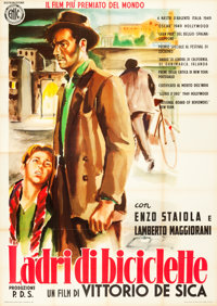 "The Bicycle Thieves (ENIC, R-1952). Italian 4 - Fogli (55"" X 78"") Ercole Brini Artwork"