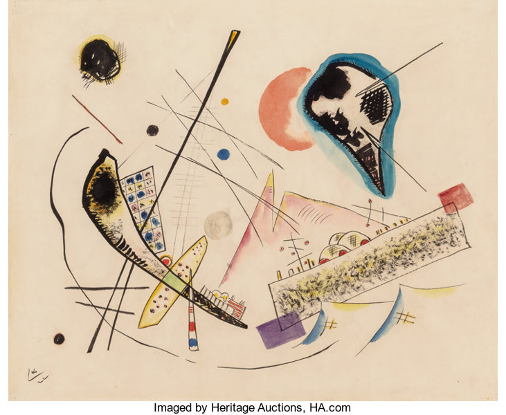 """1979 Vintage KANDINSKY /""""CIRCLE AND SQUARE/"""" FABULOUS COLOR offset Lithograph"""