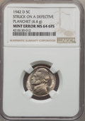 1942-D 5C Jefferson Nickel -- Struck on a Defective Planchet --MS64 Full Steps NGC. 4.4 Grams