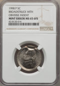 1998-P 5C Jefferson Nickel -- Broadstruck, With Obverse Indent -- MS65 Full Steps NGC