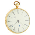 Timepieces:Pocket (pre 1900) , Nathan Sternberg Manchester 18k Gold Center Hack Seconds Fusee. ...