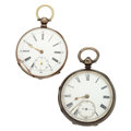 Timepieces:Pocket (pre 1900) , Two Swiss Sterling Silver Key Wind Pocket Watches. ... (Total: 2Items)