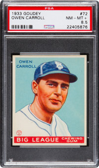 1933 Goudey Owen Carroll #72 PSA NM-MT+ 8.5 - The Highest Graded Example!