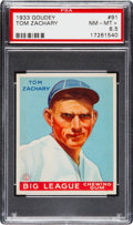 Baseball Cards:Singles (1930-1939), 1933 Goudey Tom Zachary #91 PSA NM-MT+ 8.5 - Pop Two, None Higher....
