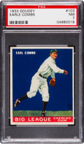 Baseball Cards:Singles (1930-1939), 1933 Goudey Earle Combs #103 PSA NM 7....