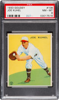 Baseball Cards:Singles (1930-1939), 1933 Goudey Joe Kuhel #108 PSA NM-MT 8 - None Higher!...