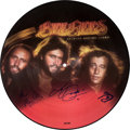 Music Memorabilia:Autographs and Signed Items, Bee Gees Signed Spirits Having Flown Picture Disc LP (RSORS-1-3042, 1979)....