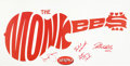 Music Memorabilia:Autographs and Signed Items, Monkees - Signed Promotional Banner (Rhino)....