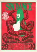 "Music Memorabilia:Posters, Grass Roots/ Big Brother/ Sons Of Adam ""Sin Dance"" Avalon Concert Poster FD-6 (Family Dog, 1966). ..."