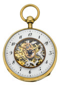 Timepieces:Pocket (pre 1900) , Swiss Skeletonized Quarter Repeating Verge Fusee, circa 1820's. ...