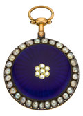 Timepieces:Pocket (pre 1900) , Dupetit Dunkerque French Enamel & Pearl Set Gold Fusee, circa1830's. ...