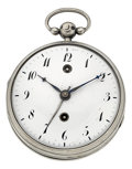 Timepieces:Pocket (pre 1900) , Swiss Sterling Two Train Verge Fusee With Alarm, circa 1820. ...