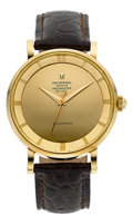 Timepieces:Wristwatch, Universal Geneve 18k Gold Polerouter De Luxe Automatic, circa 1954....