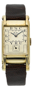 "Timepieces:Wristwatch, Rolex Ref. 3937 Gold Prince Elegant ""1/4 Century Club"" For Eaton. ..."