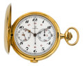 Timepieces:Pocket (post 1900), Omega 18k Gold Chronograph With Register, circa 1905. ...