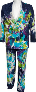 Movie/TV Memorabilia:Costumes, A David Letterman Signed Wacky Tie-Dye Suit, 1996....