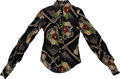Music Memorabilia:Costumes, Alice Cooper - Neal Smith Road-Worn Long-Sleeve Floral Shirt....