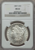 Morgan Dollars: , 1887-S $1 MS62 NGC. NGC Census: (1515/2775). PCGS Population (2102/5259). Mintage: 1,771,000. Numismedia Wsl. Price for pro...