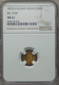 California Fractional Gold , 1875/3 50C Indian Round 50 Cents, BG-1058, R.3, MS61 NGC. NGCCensus: (5/13). PCGS Population (9/108). ...