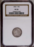 Bust Dimes: , 1832 10C VF35 NGC. NGC Census: (3/200). PCGS Population(6/209).Mintage: 522,500. Numismedia Wsl. Price: $130. (#4521)...