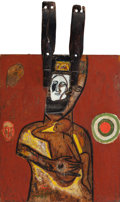 Post-War & Contemporary:Sculpture, Mimmo Paladino (b. 1948). Vento orfico, 1985. Oil and mixedmedia on wood. 58-3/4 x 35-1/2 x 5 inches (149.2 x 90.2 x 12...