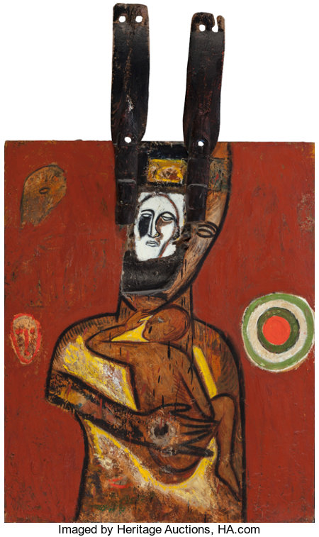 Mimmo Paladino (b. 1948)Vento orfico, 1985Oil and mixed media on wood58-3/4 x 35-1/2 x 5 inches (149.2 x 90.2 x 12...