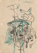 Fine Art - Work on Paper:Drawing, George Condo (b. 1957). Untitled, 1985. Pastel on paper. 17x 12 inches (43.2 x 30.5 cm) (sheet). Signed and inscribed u...