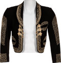 Music Memorabilia:Costumes, Alice Cooper - Neal Smith Road-Worn Black & Gold Spanish BoleroJacket....