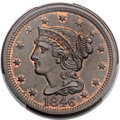 Large Cents, 1846 1C Tall Date, N-14, R.3, MS65 Brown PCGS. CAC....
