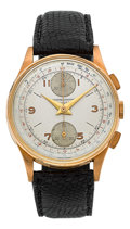 Timepieces:Wristwatch, Swiss 18k Pink Gold Chronograph. ...