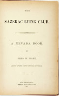 Books:Americana & American History, [Wit & Humor]. Fred H. Hart. The Sazerac Lying Club: ANevada Book. San Francisco: Henry Keller & Co., 1878....