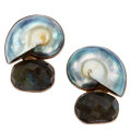 Estate Jewelry:Earrings, Labradorite, Shell, Sterling Silver Earrings, Rebecca Collins. ...