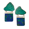 Estate Jewelry:Earrings, Azurmalachite, Turquoise, Sterling Silver Earrings, RebeccaCollins. ...